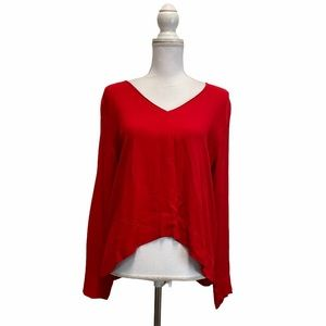 Zara Red Long Sleeve V Neck Top Blouse Large